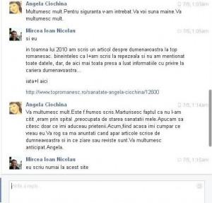 Fragment din conversaţia cu doamna Ciochină, din 5 iulie 2015, de pe Facebook.